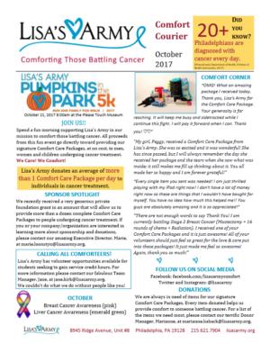 Lisa's Army Newsletter October 2017