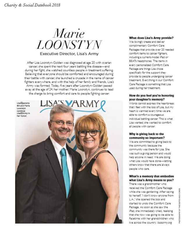 Lisa's Army is featured in the Spring 2018 Charity Datebook.